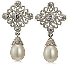 Honora 7-8mm Cultured Pearl Vintage Style Drop Earrings Sterling Silver