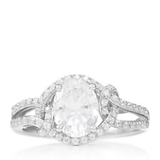 Diamonique 2ct tw Highway Halo Solitaire Ring Sterling Silver