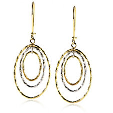 9ct Gold Drop Circle Earrings