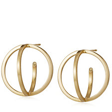 9ct Gold Orbit Illusion 18mm Double Hoop Stud Earrings