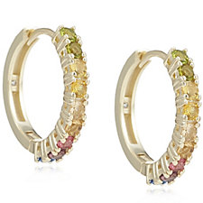 Diamonique 0.9ct tw Simulated Gemstone Hoop Earrings Sterling Silver
