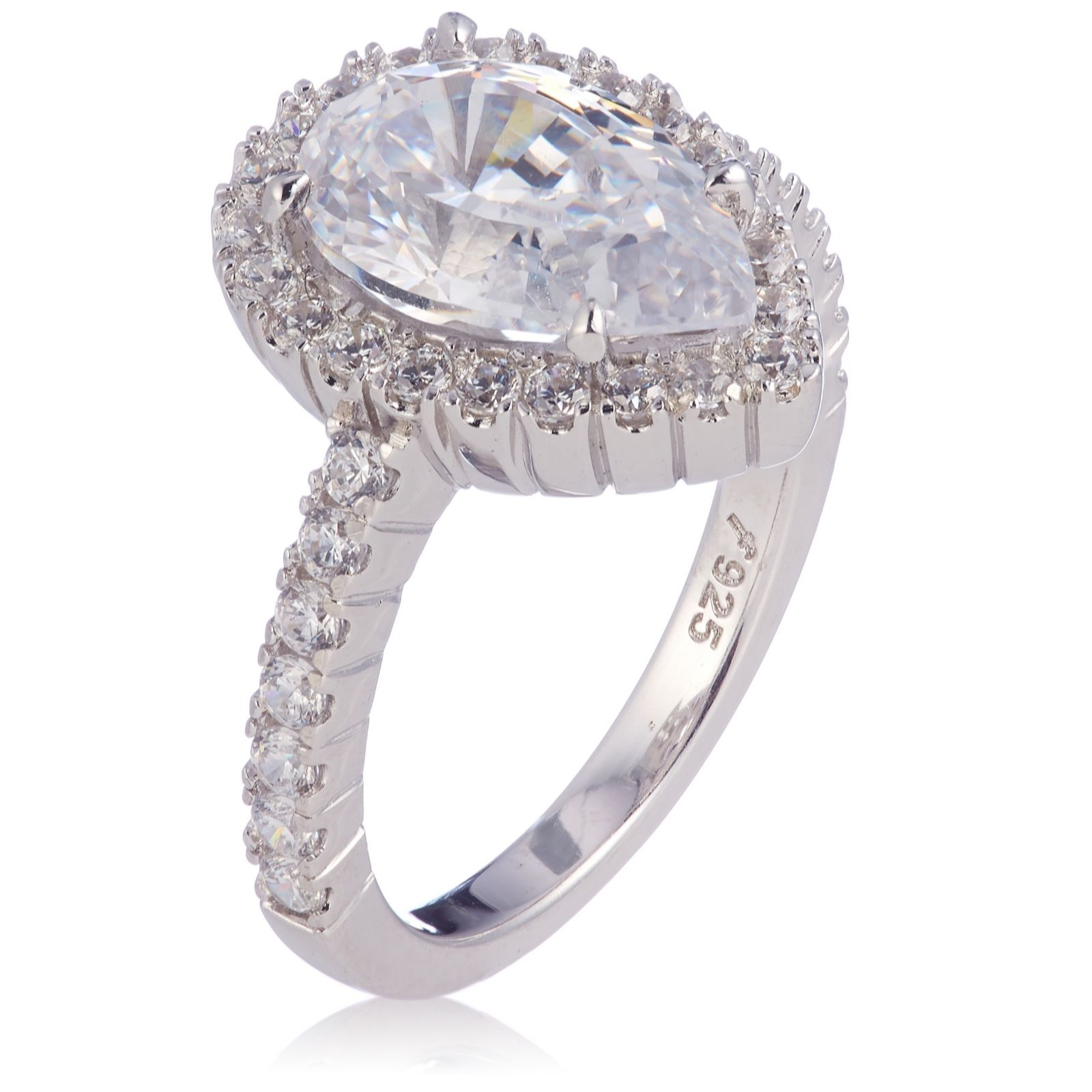 c5bae84110ff Diamonique 3.48ct tw 100 Facet Pear Cut Ring Sterling Silver - QVC UK