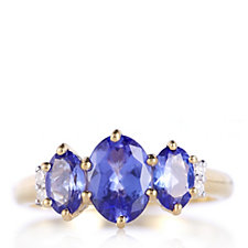 1.9ct AAAA Tanzanite Oval Trilogy Ring Diamond Accent 18ct Gold