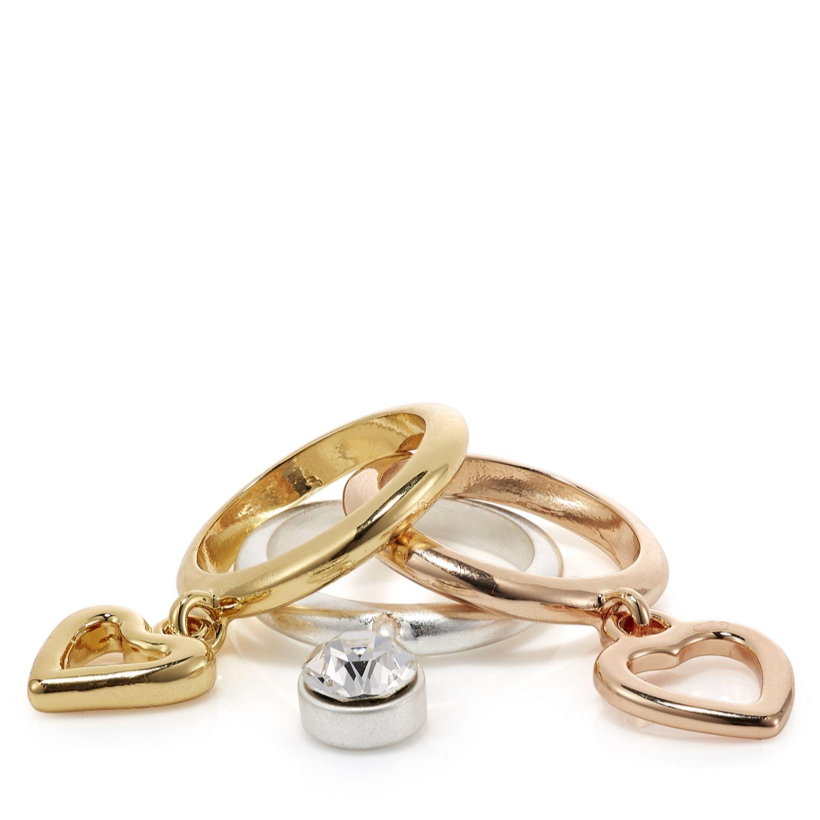 Bibi Bijoux Set of Three Charm Rings - QVC UK 9179e99125