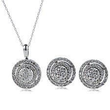 1.00ct Diamond Stud Earrings & 45cm Necklace Set 9ct Gold