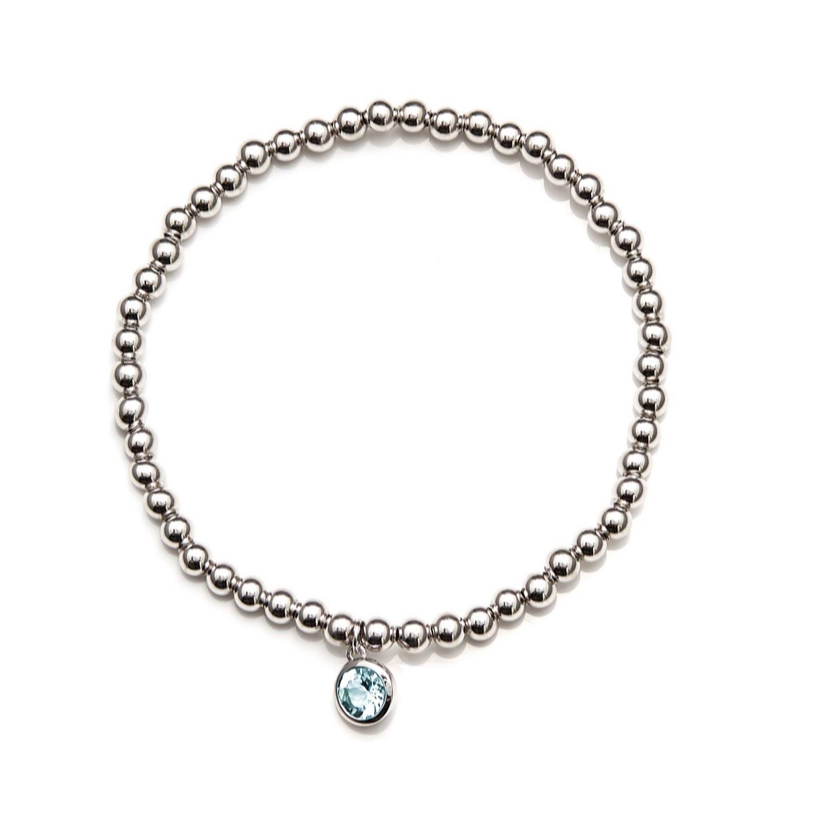 7ad1f90e3be1 0.70ct Aquamarine Beaded Stretch Bracelet Sterling Silver - QVC UK