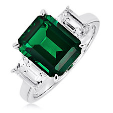 Diamonique 6ct tw Vintage Style Emerald Cut Ring Sterling Silver