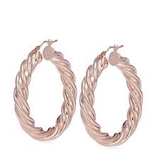 Bronzo Italia Large Polished Twist Hoop Earrings