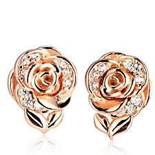 Diamonique 0.17ct tw Rose Stud Earrings Sterling Silver