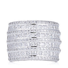 Diamonique 4.2ct tw Mixed Cut Statement Band Ring Sterling Silver