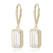 341152 - Diamonique 6ct tw Radiant Cut Leverback Earring Sterling Silver