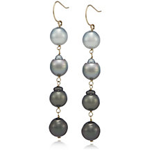 9-11mm Cultured Semi Baroque Tahitian Pearl Drop Earrings 14ct Gold