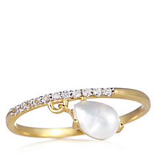 K by Kelly Hoppen White Topaz Charm Ring 18ct Vermeil Sterling Silver