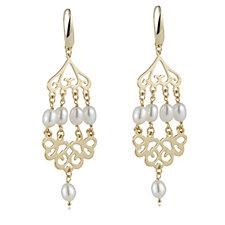 Honora 6mm Cultured Pearl Chandelier Drop Earrings Bronze