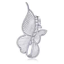 Diamonique Couture 3.3ct tw Butterfly Brooch Sterling Silver