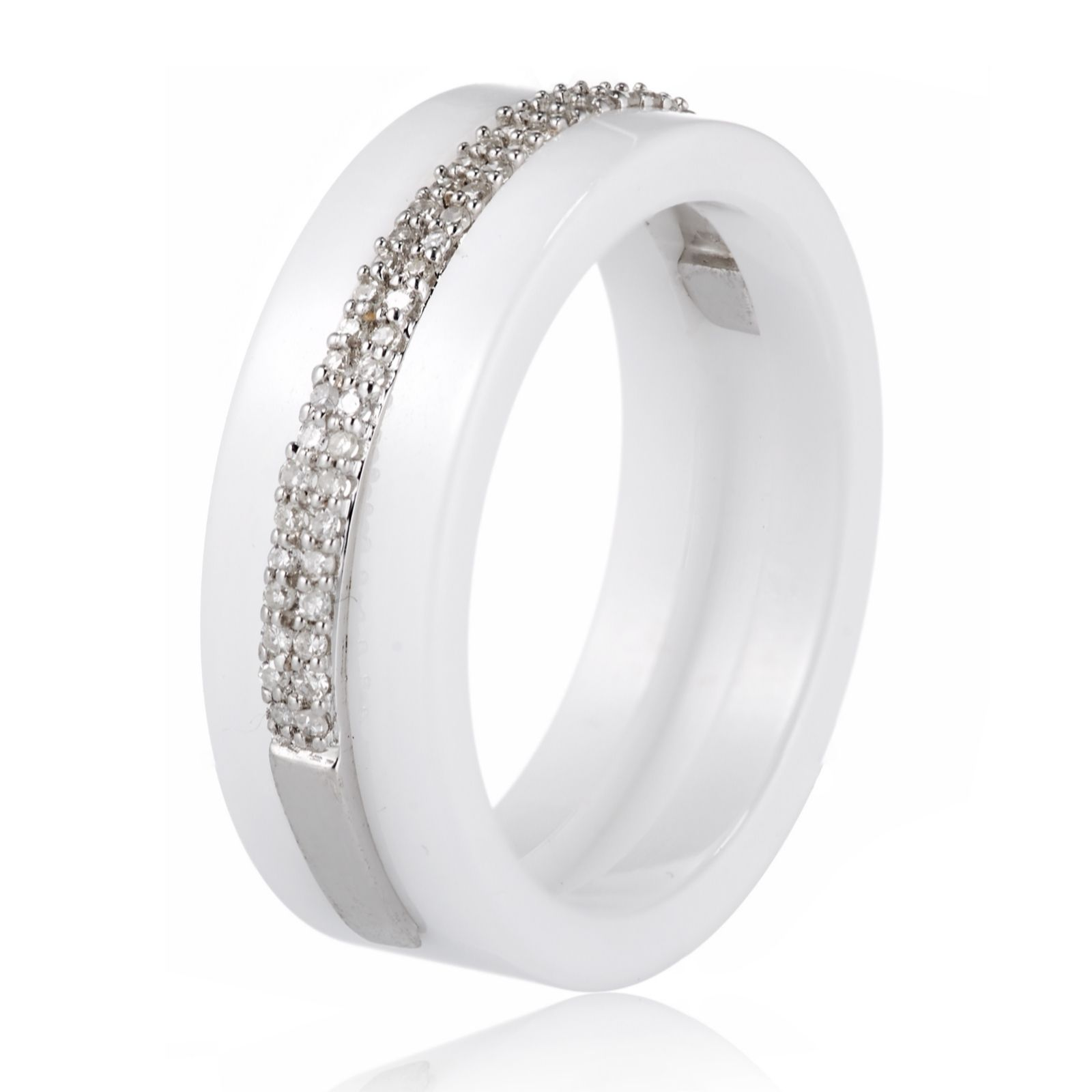 927a4afd34c15 0.15ct Diamond & Ceramic Ring Sterling Silver - QVC UK