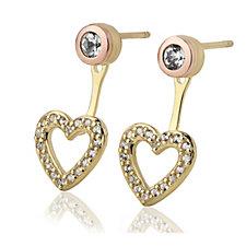Clogau 9ct Gold David Emanuel Swarovski Topaz Heart Ear Jackets