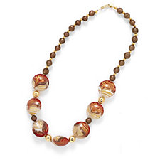 Murano Glass Domed Bead Necklace Sterling Silver