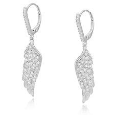 Diamonique 0.4ct tw Angel Wing Earrings Sterling Silver