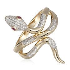 0.33ct Diamond & Ruby Snake Ring Sterling Silver