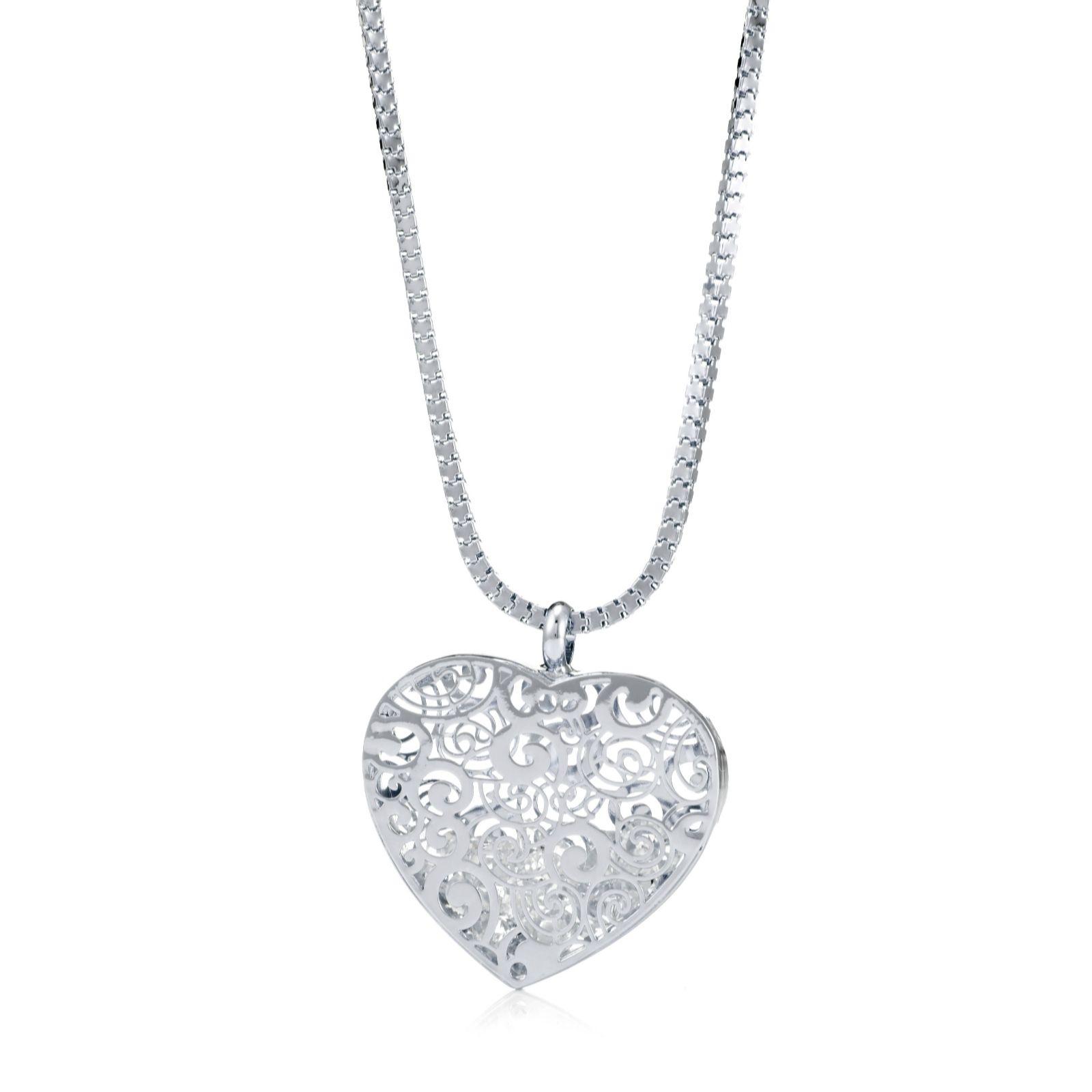 06ec888fd0780b Frank Usher Encapsulated Crystal Heart 80cm Necklace - QVC UK
