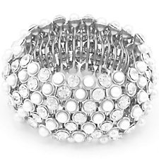 Loverocks Pearl & Crystal Stretch Bracelet