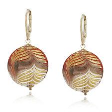 Murano Glass Domed Bead Earrings Sterling Silver