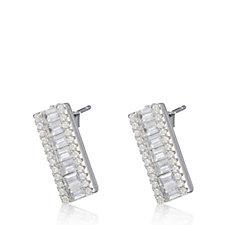 Diamonique 2.7ct tw Baguette Stud Earrings Sterling Silver