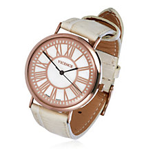 14ct Gold Mother of Pearl Leather Strap Watch