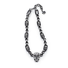Butler & Wilson Crystal Skull Chunky Square Chain 46cm Necklace
