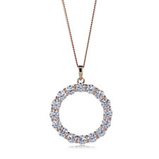Diamonique 4.4ct tw Ultimate Glamour Circle Pendant & Chain Sterling Silver