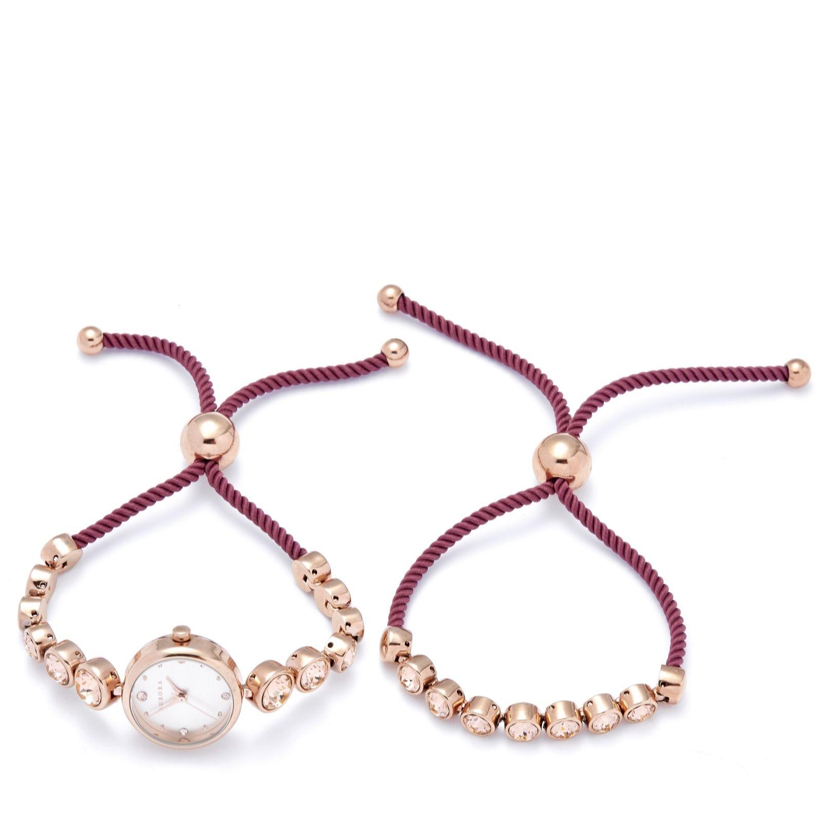 f287b02a1 Aurora Swarovski Crystal Friendship Bracelet & Watch Set - QVC UK