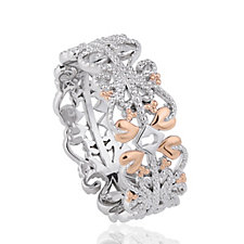 Clogau 9ct Rose Gold & Sterling Silver Kensington Heart Ring