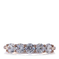 Diamonique 1.4ct tw Ultimate Glamour 5 Stone Ring Sterling Silver