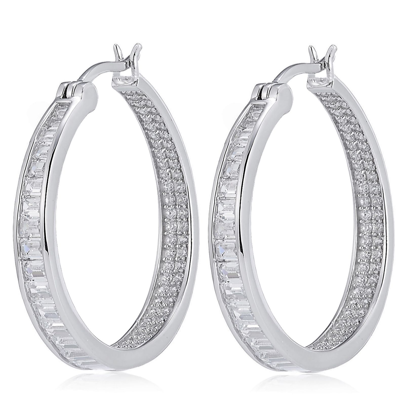 8a46ee60b Diamonique 1.9ct tw Mixed Cut Inside Out Hoop Earrings Sterling ...