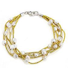 Honora 5-6mm Cultured Baroque Pearl 19cm Bracelet Sterling Silver