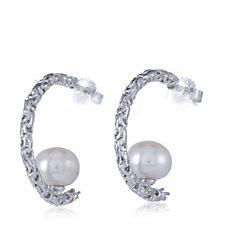 Honora 9-9.5mm Button Pearl on Byzantine C Hoop Earrings Sterling Silver