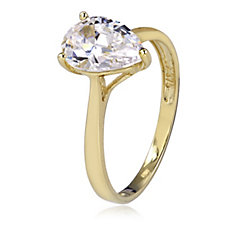 340965 - Diamonique 2ct tw 100 Facet Pear Cut Ring 9ct Gold