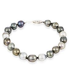 8-9mm Cultured Tahitian Pearl 19cm Bracelet Sterling Silver