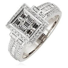 0.86ct Diamond Mixed Cut Band Ring 18ct Gold