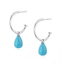 Turquoise Droplet Hoop Earrings Sterling Silver