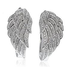 0.25ct Diamond Angel Wing Huggie Earrings Sterling Silver