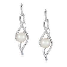 Honora 6-6.5mm Cultured Pearl Cubic Zirconia Drop Earrings Sterling Silver