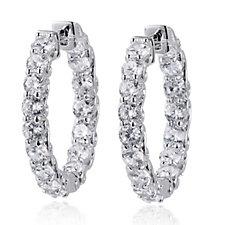 Diamonique 3.2ct tw Statement Hoop Earrings Sterling Silver