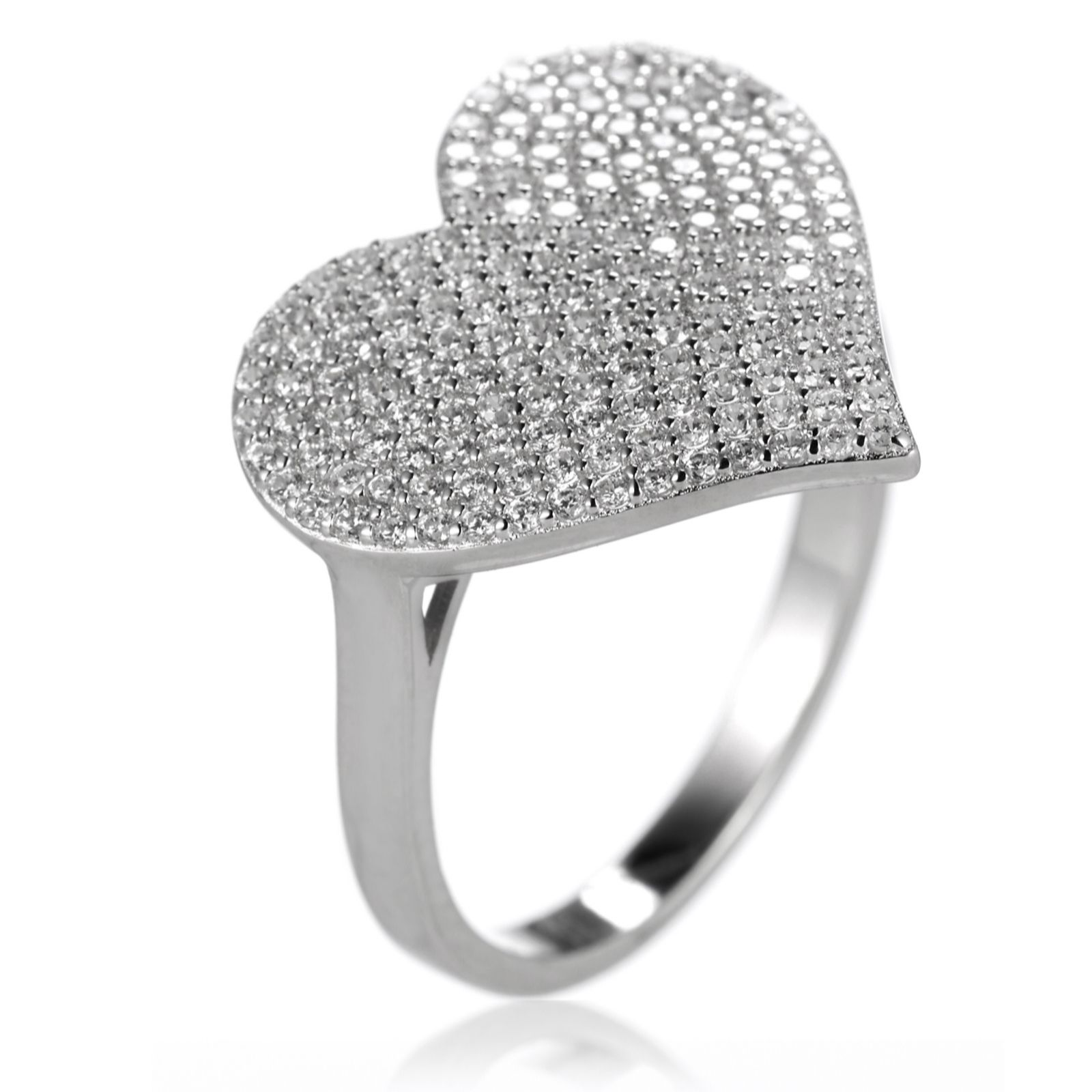 Diamonique 1.3ct tw Pave Heart Ring Sterling Silver - QVC UK