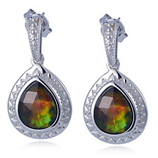 Canadian Ammolite Triplet Teardrop Faceted Drop Earrings Sterling Silver