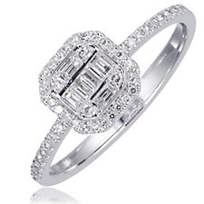 0.33ct Diamond Mixed Cut Cushion Shape Ring 14ct Gold