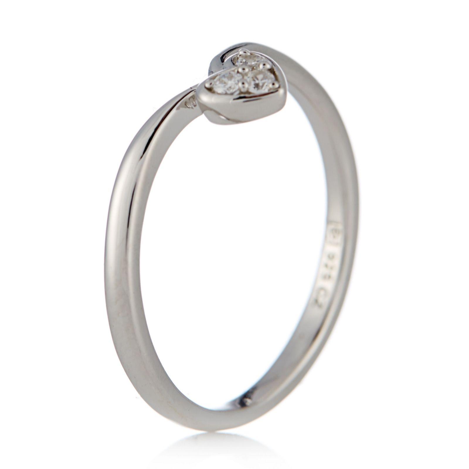 Diamonique 0.06ct tw Heart Charm Stack Ring Sterling Silver - QVC UK 871b706d4b