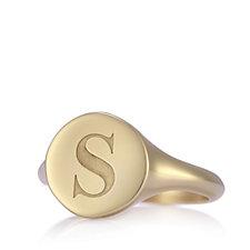 Bronzo Italia Round Initial Signet Ring Yellow Bronze