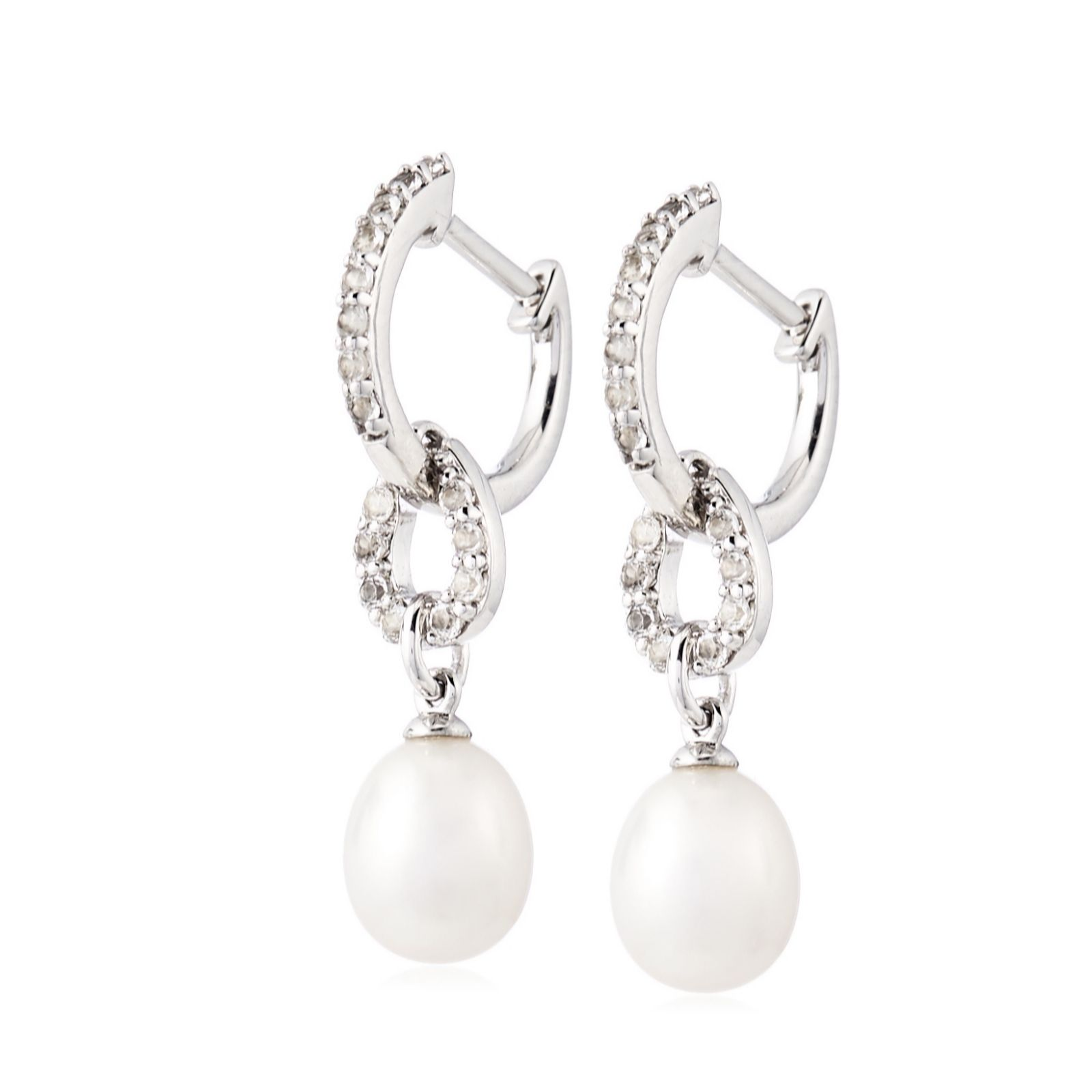 d2a791c814 Honora 7-8mm Cultured Pearl White Topaz Drop Earrings Sterling Silver - QVC  UK